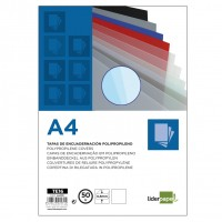 Liderpapel TE16. 50 tapas encuadernar transparentes polipropileno A4 0.8 mm.