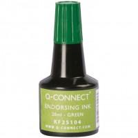 Q-Connect KF25104. Tinta verde para tampón - frasco de 28 ml.