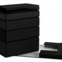 PARDO 969001. Carpeta proyectos folio lomo 90 mm carton forrado negro con broche.