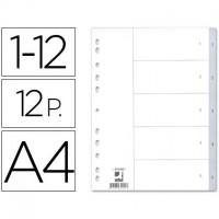 Q-CONNECT KF34023 Separador numérico de plástico A4 multitaladro. 1-12 juego