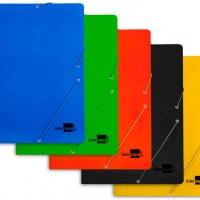 Liderpapel CG57. Carpeta gomas folio 3 solapas cartón plastificado colores surtidos